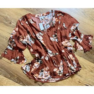 Maurices Sienna Brick Floral Peasant Size L